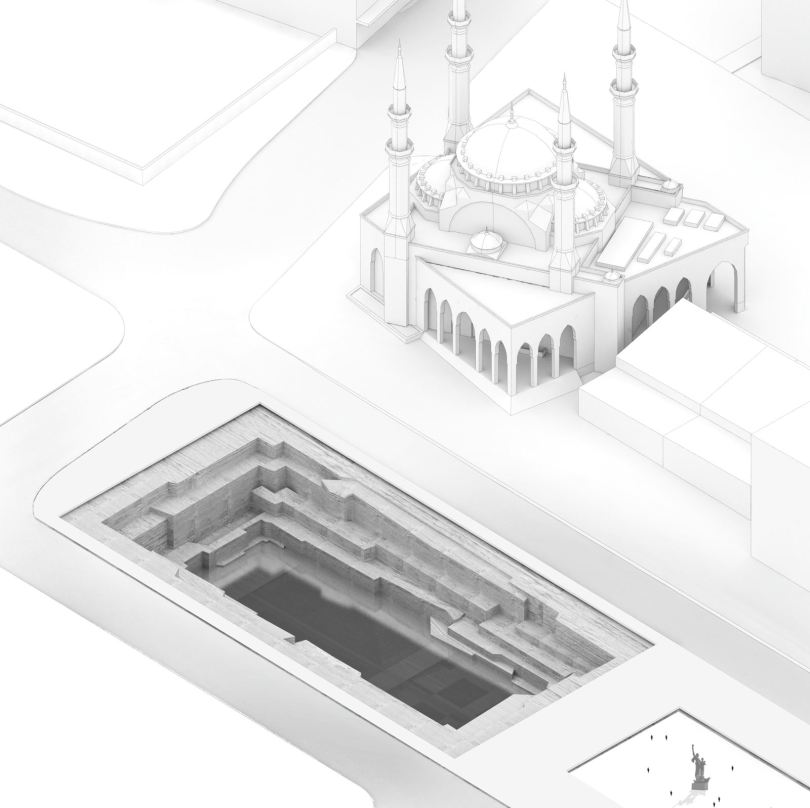 A rendering of the proposed museum beside the square's Mohammed al-Amin Mosque and the Martyrs Statue