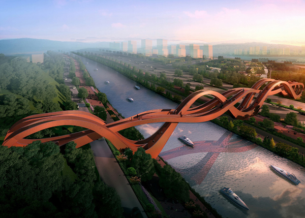 Next Architects' Mobius-like Chinese bridge