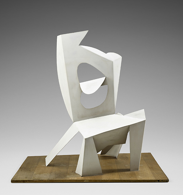 intersecting planes sculpture. pablo picasso (spanish, 1881\u20131973) chair cannes, 1961 painted sheet metal intersecting planes sculpture