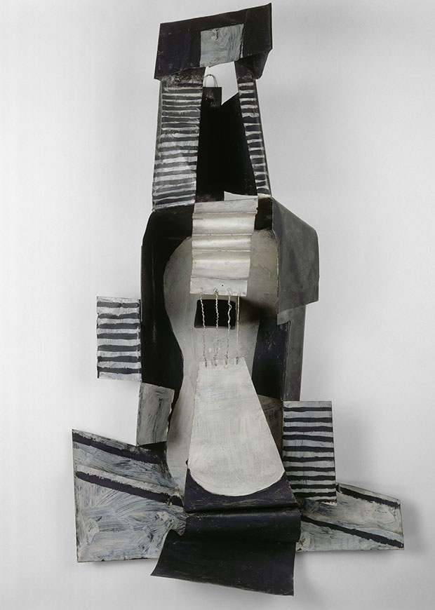 Pablo Picasso (Spanish, 1881–1973) Guitar, Paris, 1924, Painted sheet metal, painted tin box, and iron wire 43 11/16 × 25 × 10 1/2 in. (111 × 63.5 × 26.6 cm) Musée national Picasso–Paris © 2015 Estate of Pablo Picasso/Artists Rights Society (ARS), New York
