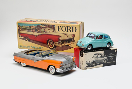Ford convertible toy car with original box. c. 1956. Manufactured by Marusan Shoten Ltd., Tokyo (est. 1947). Subaru 360 toy car with original box. c. 1963. Manufactured by Bandai, Tokyo (est. 1950). Bruce Sterling Collection, New York