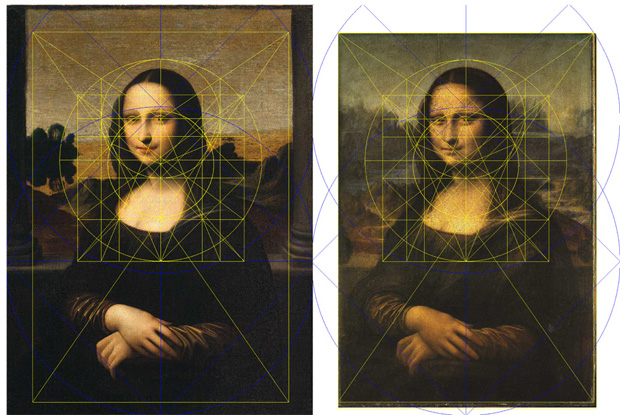 The Isleworth Mona Lisa (left) and The Mona Lisa (right), with Alfonso Rubino's geometric attributions