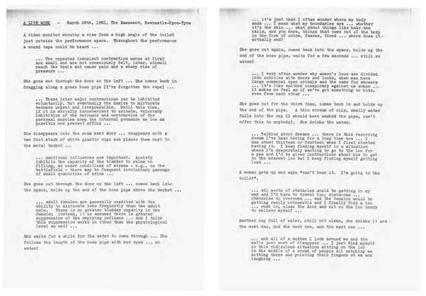 Mona Hatoum - Look No Body! 1981 typewritten text on paper