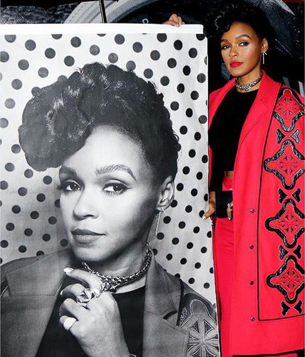 Janelle Monáe with her Inside Out print at last night's awards. Image courtesy of the singer's Instagram account