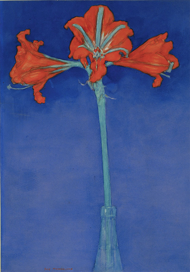 Red Amaryllis with Blue Background (c.1907) by Piet Mondrian. From Plant: Exploring the Botanical World