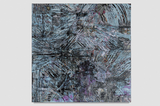 Moody Blues for Jack Whitten (2018) by Mark Bradford. Image courtesy of Hauser & Wirth
