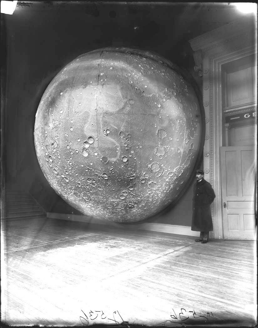 Field Columbian Museum West Court Alcove 103. 1898. Moon Model Prepared by Johann Friedrich Julius Schmidt, Germany, in 1898. Via Wikimedia Commons. As reproduced in Sun and Moon