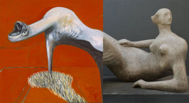 Left, detail from Three Studies for Figures at the Base of a Crucifixion (1944) by Francis Bacon and Reclining Figure: Angles (1979) by Henry Moore
