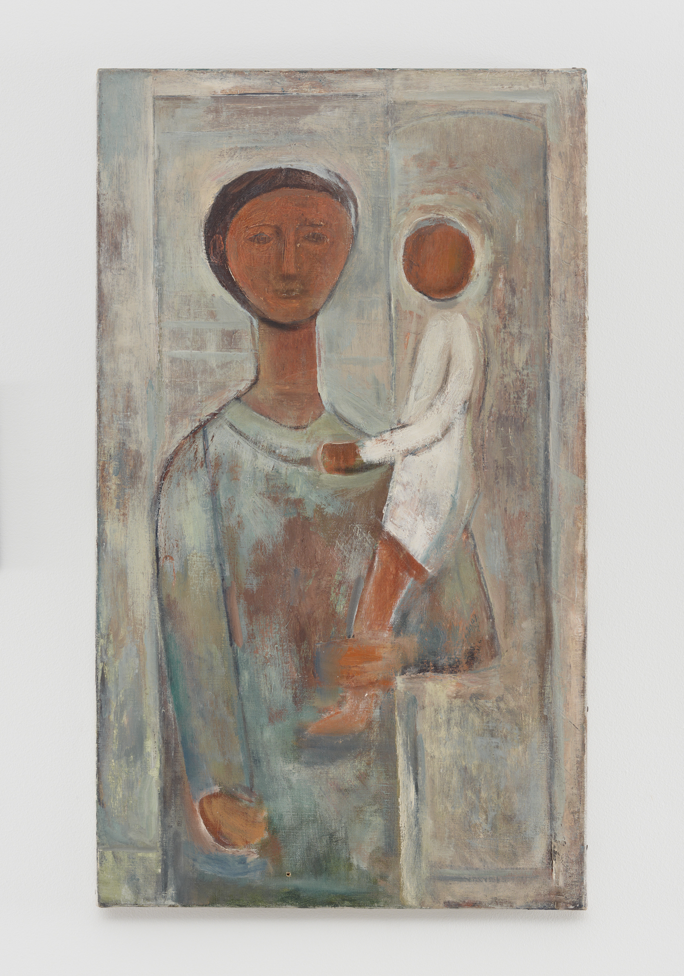 Mother and Child, 1949, oil on linen, 29 x 17 inches (73.7 x 43.2 cm). Blanton Museum of Art, The University of Texas at Austin. Ellsworth Kelly Foundation. Photo Ron Amstutz, courtesy Ellsworth Kelly Studio