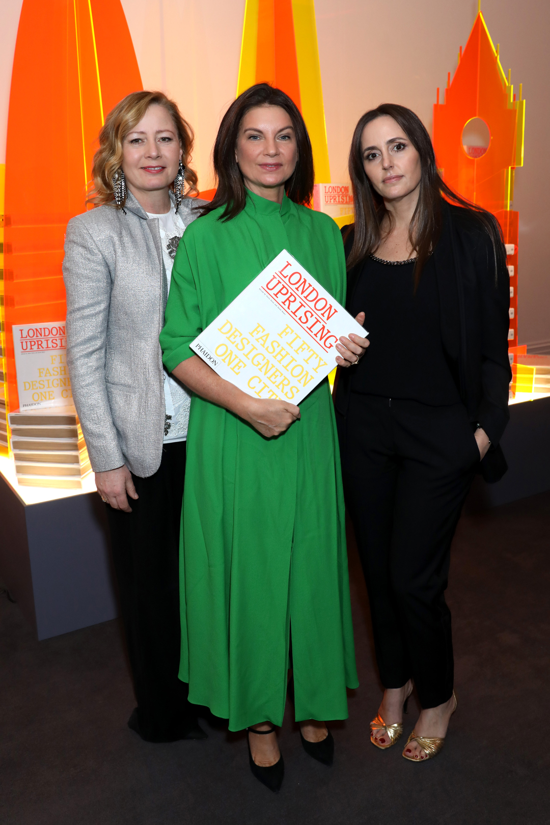 Sarah Mower MBE Natalie Massenet MBE and Tania Fares at Sotheby's last night