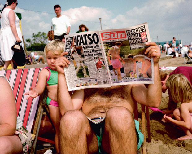 Martin Parr, British Tabloid, Beach Scene (1991), Skegness, England