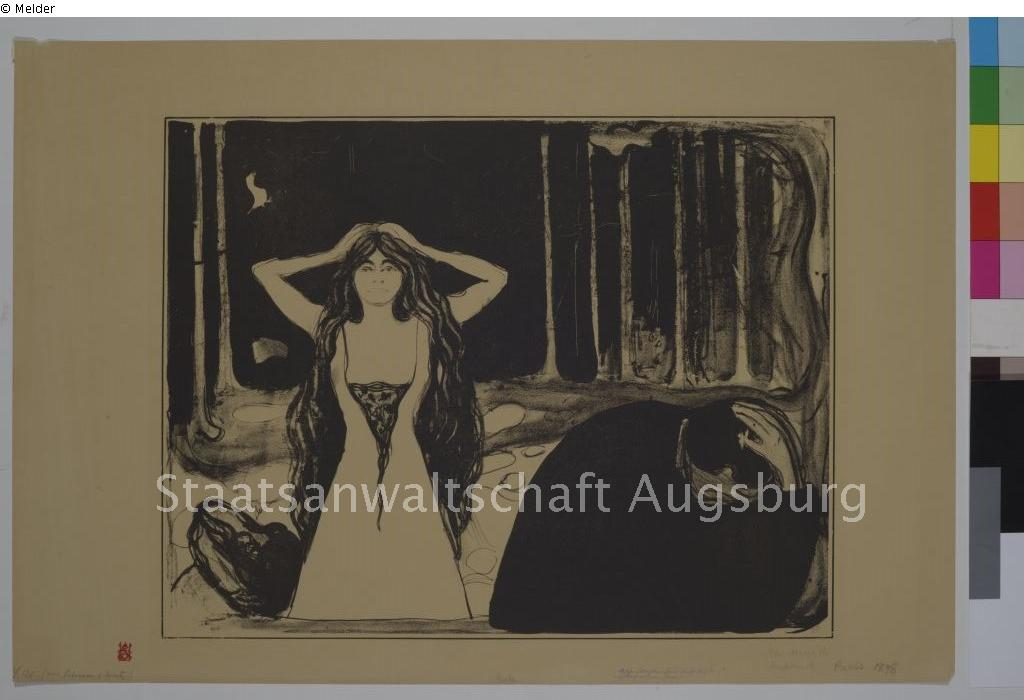 Standing woman by Evard Munch,  courtesy of lostart.de