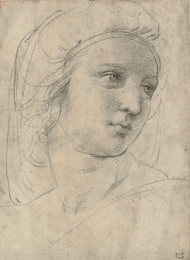 Raffaello Sanzio, called Raphael (1483–1520), Head of a Muse, c.1510, black chalk over pounce marks, traces of stylus, 30.5 x 22 cm (12 x 8½ in). Sale: 8 December 2009, London. Estimate: £12m–16m/ $19.7m–26.3m. Sold £29,161,250/ $48,009,960