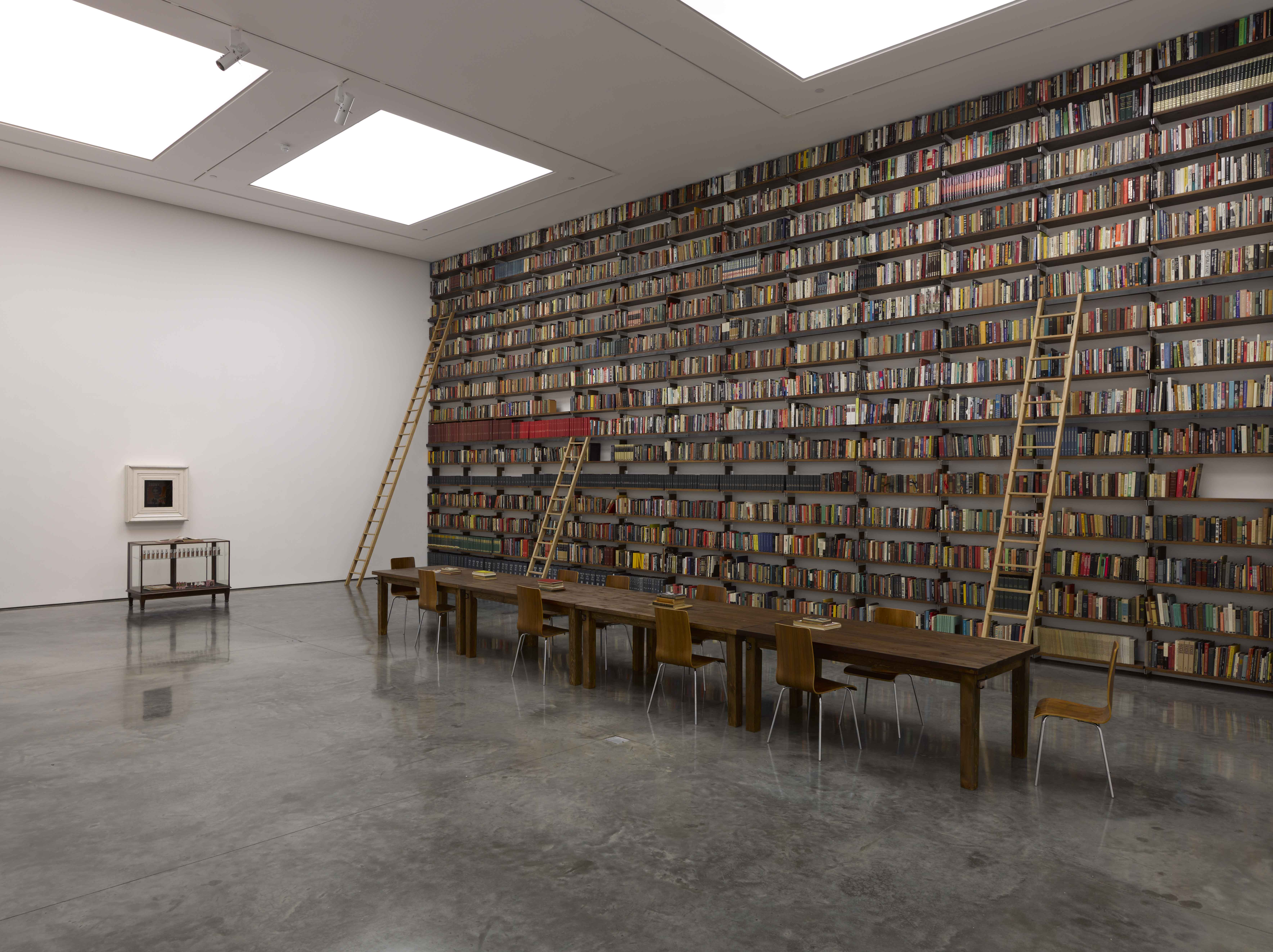 A portion of the Johnson Editorial Library, as displayed in Gates' 2011 White Cube exhibition, Labour is my Protest
