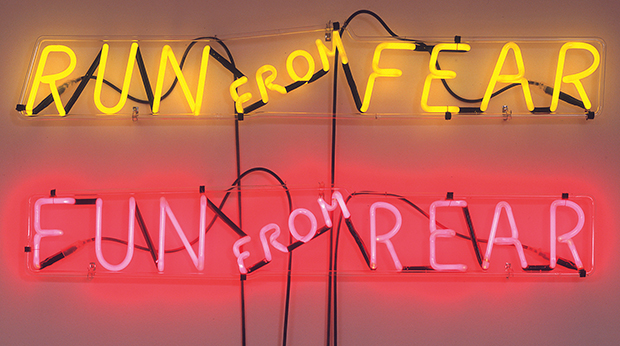 Run from Fear, Fun from Rear (1972) by Bruce Nauman. As reproduced in our Bruce Nauman monograph
