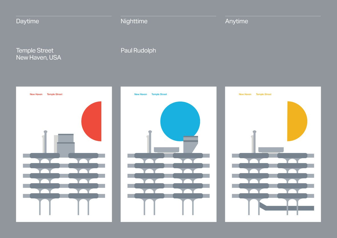 A series of Temple Street parking garage posters by Peter Chadwick