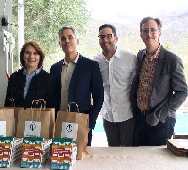 From left: Emilia Terragni publisher, Phaidon, Keith Fox CEO, Phaidon, Sam Lubell author Mid-Century Modern Architecture Travel Guide: West Coast USA, Darren Bradley, photographer Mid-Century Modern Architecture Travel Guide: West Coast USA