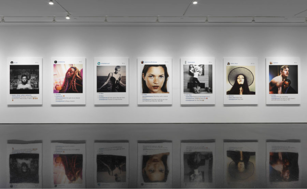 An installation shot of Richard Prince's New Portraits series. Courtesy of the Gagosian gallery.