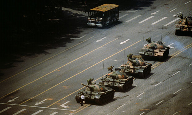 Tank Man, Tiananmen Square, Beijing, China, 1989 by Stuart Franklin. As reproduced in Franklin's book The Documentary Impulse