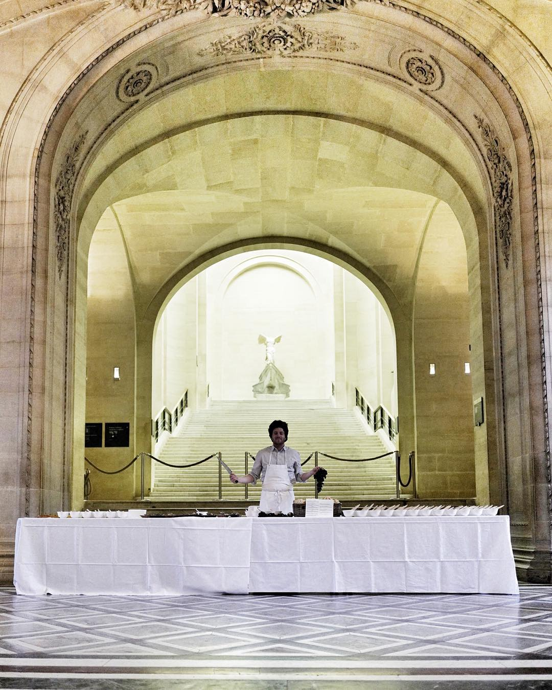 Chef Jean Imbert prepares breakfast at the Louvre