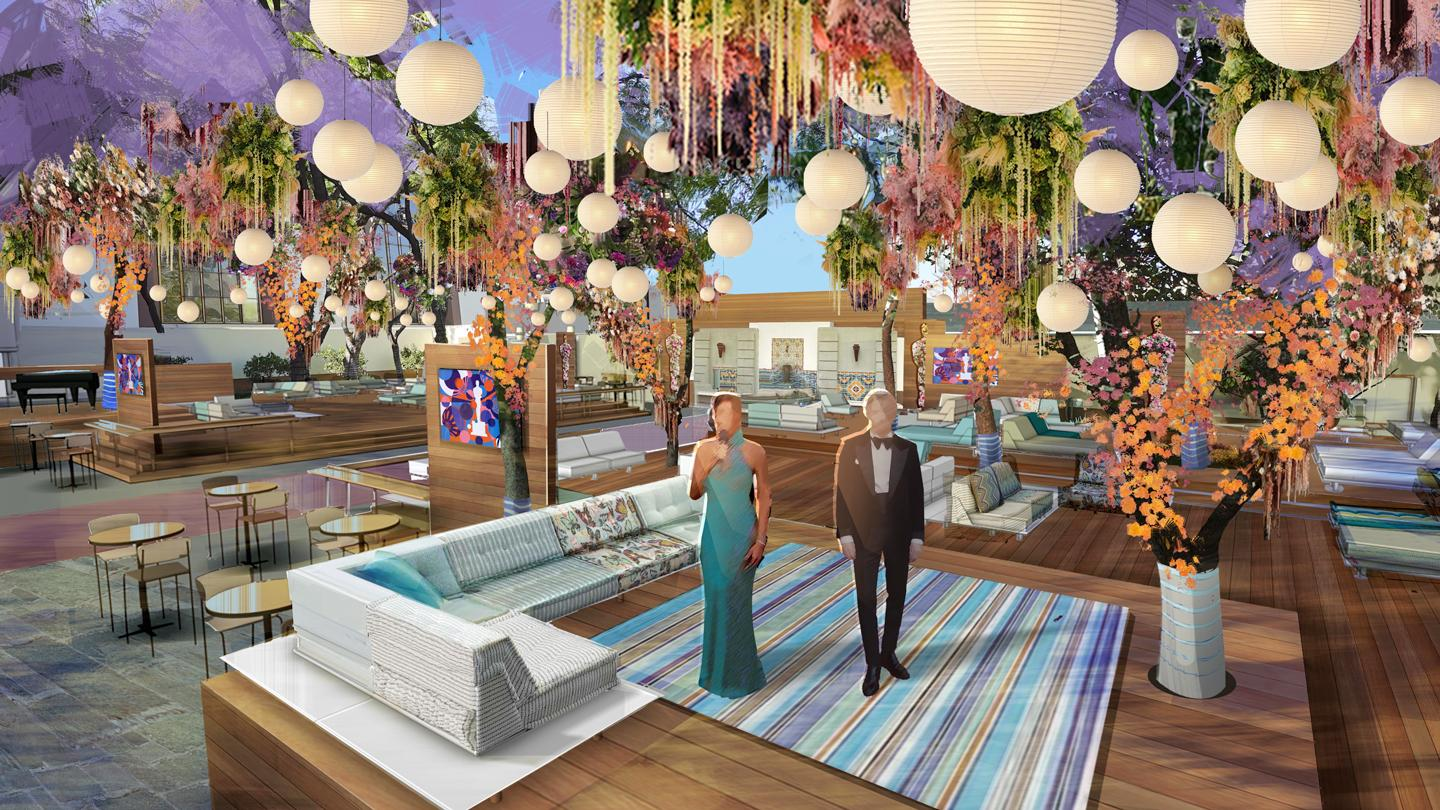 Renderings for one of the outdoor areas at the 93rd Academy Awards, courtesy of Rockwell Group