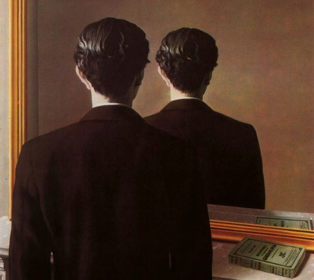 Detail from Not to be Reproduced (1937) by René Magritte