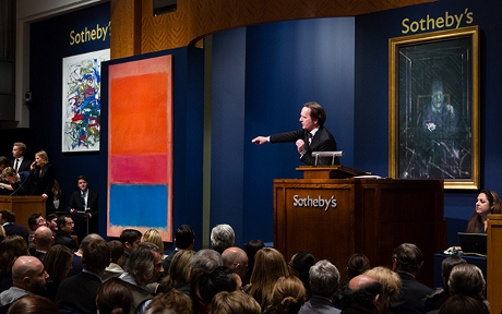 Sotheby's worldwide head of contemporary art, Tobias Meyer, led the bidding at the contemporary art evening auction