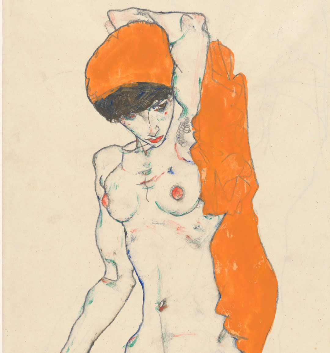 Standing Nude with Orange Drapery ​(detail) (1914) by Egon Schiele. As featured in Obsession