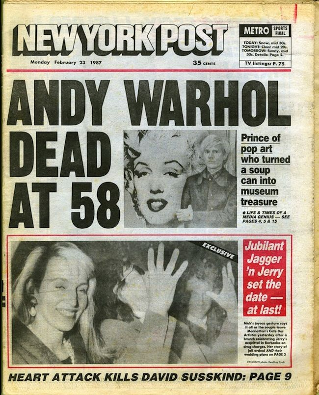 The New York Post's front page on the day following Warhol's Death