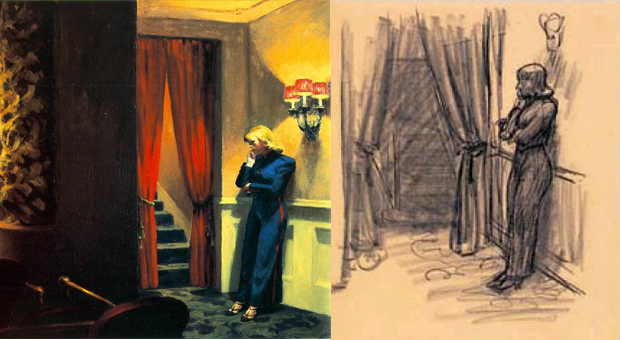 New York Movie (1939) and a preparatory drawing, by Edward Hopper