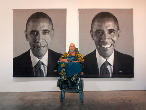 CHUCK CLOSE Barack Obama tapestry