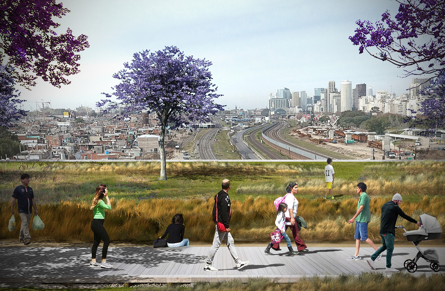 Elemental's new garden bridge building proposal for Buenos Aires. Images courtesy of Elemental