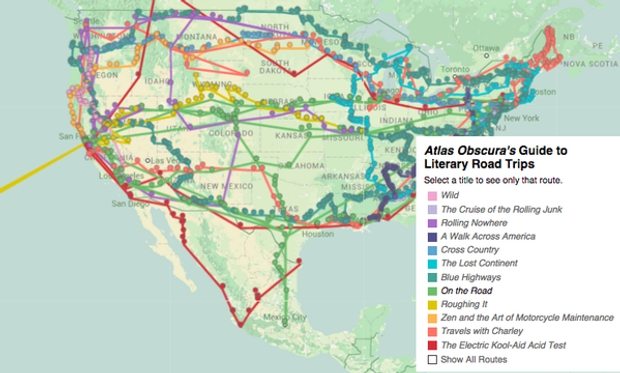 Atlas Obscura's literary road-trip map