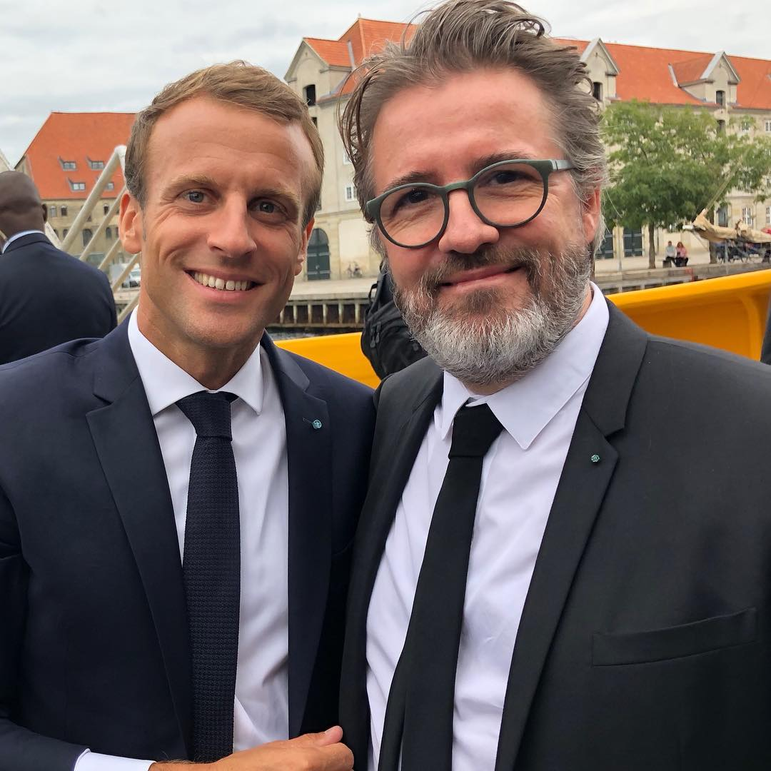 Olafur Eliasson and Emmanuel Macron in Copenhagen. Image courtesy of Eliasson's Instagram