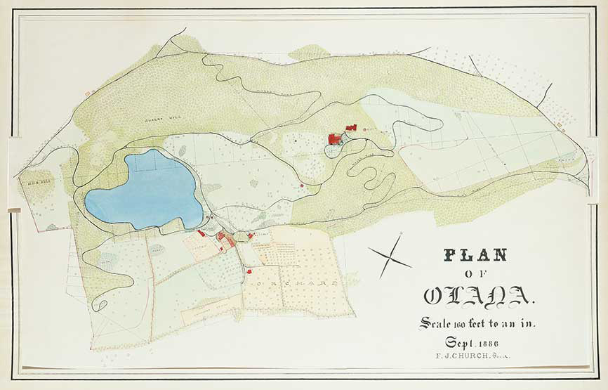 Frederic Joseph Church, Plan of Olana, September 1886, ink and watercolor on paper, 22 1/8 x 36 ¼ in. Collection Olana State Historic Site.  New York State Office of Parks, Recreation and Historic Preservation.