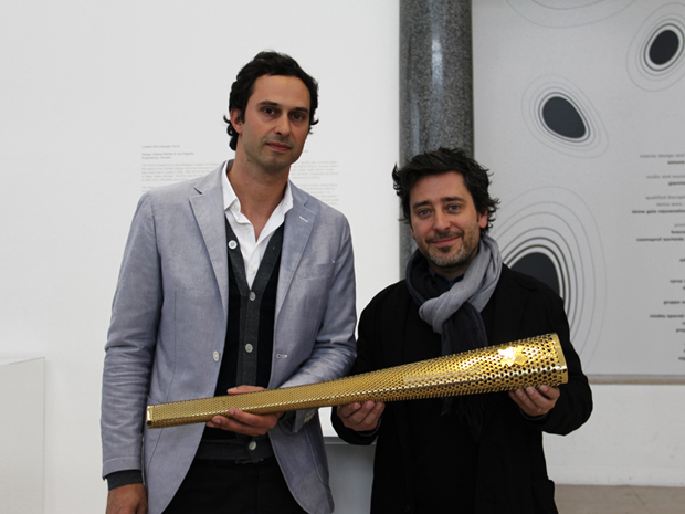 Barber Osgerby and their Olympic torch at the Design Museum Awards