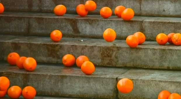 Take an orange and throw it away without thinking too much (2006) by Koki Tanaka