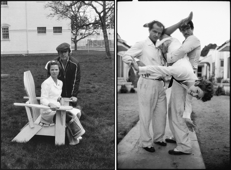Mary Ellen Mark, on the set of One Flew Over the Cuckoo's Nest (1975) (l) and The Fortune (1975) (r)