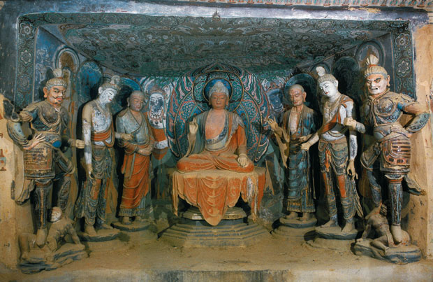 Tang Dynasty Buddha with Attendants, 8th Century AD