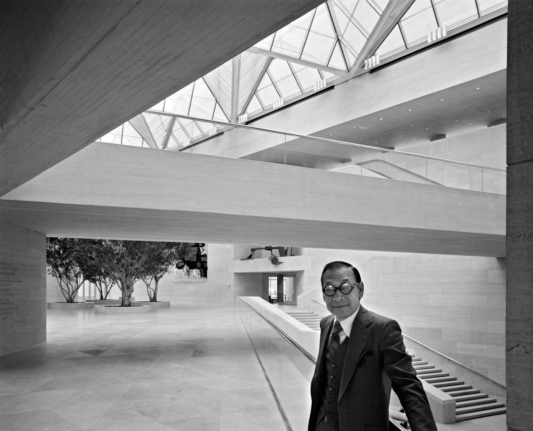 I. M. Pei at the National Gallery of Art, East Building, Washington, D.C., 1978 - Photographed by Ezra Stoller courtesy and copyright © Esto (from our forthcoming book Ezra Stoller)
