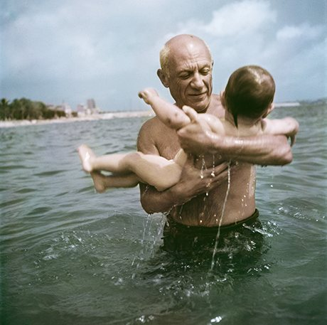 Pablo Picasso with his son, 1948, from Capa In Color
