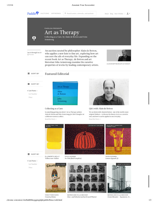 Alain de Botton Paddle8 auction page