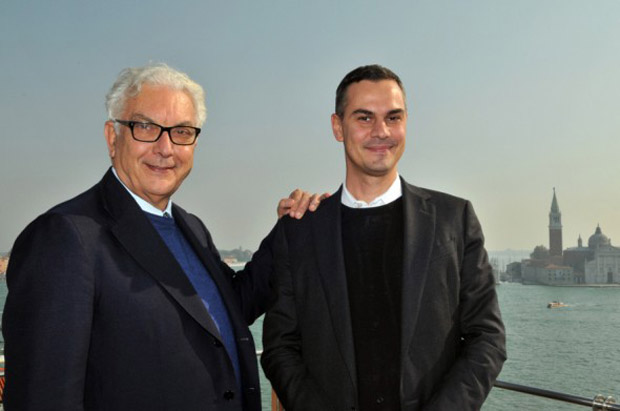 President of the Venice Biennale Paolo Baratta (left) with Massimiliano Gioni (right)