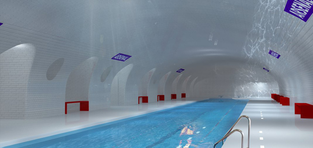 A Paris Metro stop reimagined as a swimming pool, by architects Manal Rachdi and Nicolas Laisné