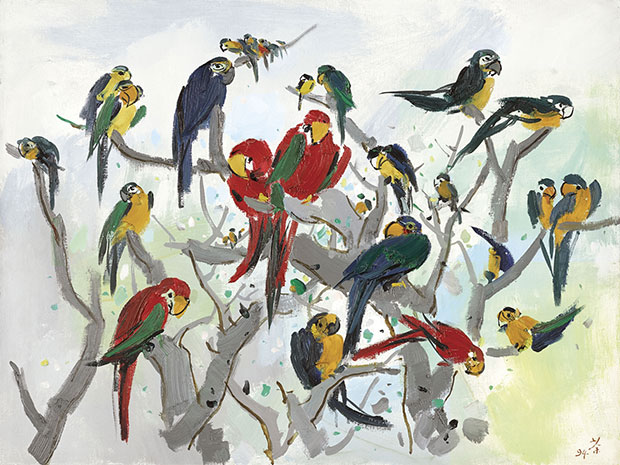 Parrots (Heaven of Parrots) (1994) by Wu Guanzhong. From Christie's Hong Kong 30 Years sale