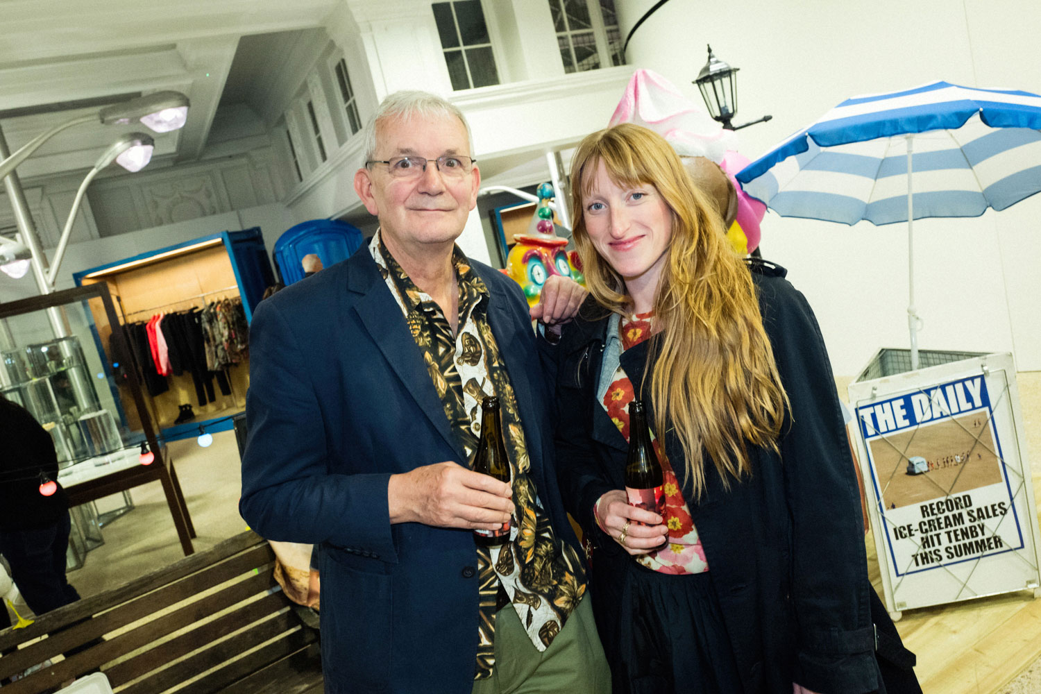 Martin Parr with the fashion designer Molly Goddard at Dover Street Market in London