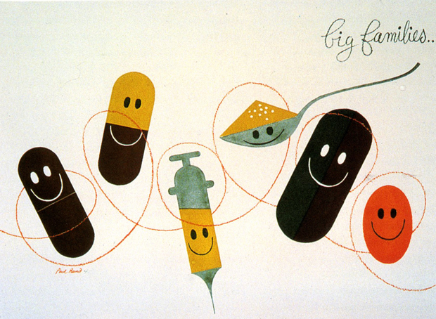 Paul Rand makes the nurse's needle a little less scary: Big Families advertising flyer 1947