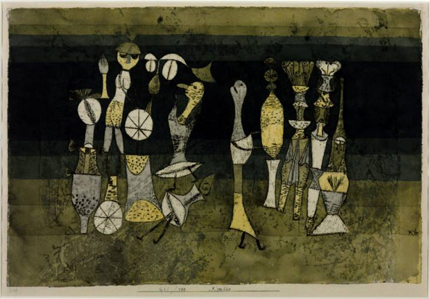 Comedy (1921) by Paul Klee. Though this work is currently on show at Tate Modern, other works by the artist have been recovered from a stash hidden in a Bavarian flat