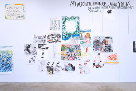 Installation view of To Wit by Raymond Pettibon at David Zwirner