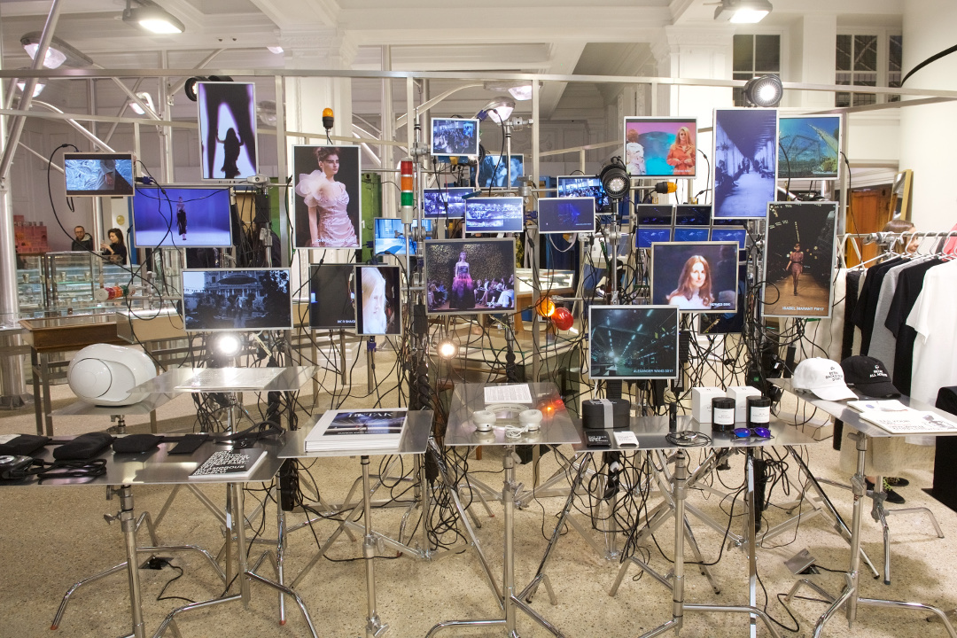 Dover Street Market's screen heavy display for Betak: Fashion Show Revolution
